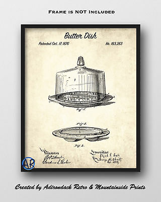 Butter Dish Patent Art Print  -  Vintage Patent Drawing