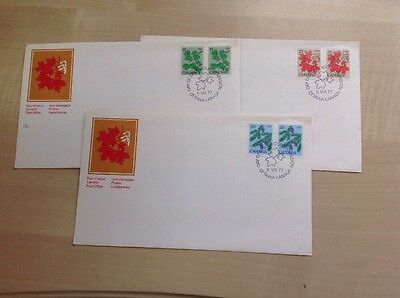Canada Three Leaves First Day Covers SG 875-7