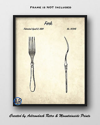 Fork Patent Art Print  -  Vintage Patent Drawing