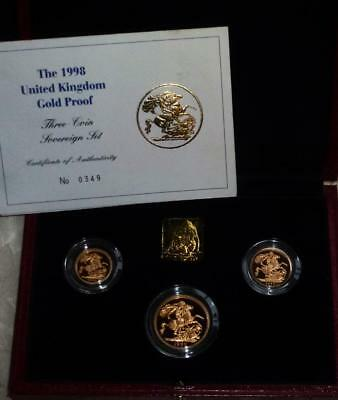Superb 1998 GOLD PROOF 3 coin sovereign set FREE POSTAGE see both images