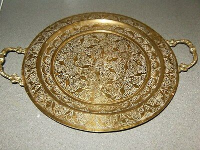 Very Stunning Decorated  Antique Solid Brass Tray On 3 Legs
