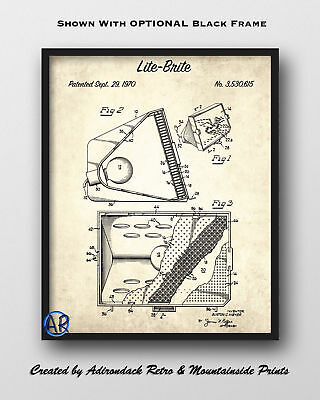 Lite Brite Patent Art Print  -  1970 Retro Game Patent Art