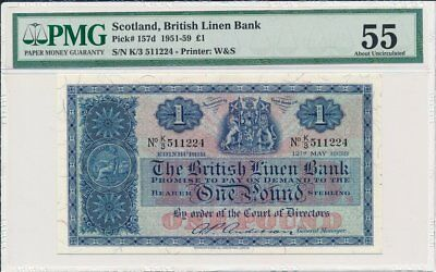 British Linen Bank Scotland  1 Pound 1959 S/No x1122x PMG  55