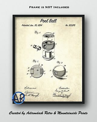 Pool Ball Patent Art Print  -  Billiards Ball Patent Poster