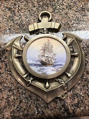 Solid Brass Ship's Wheel, Anchor, Signed Painting ~ Nautical Wall Decorations
