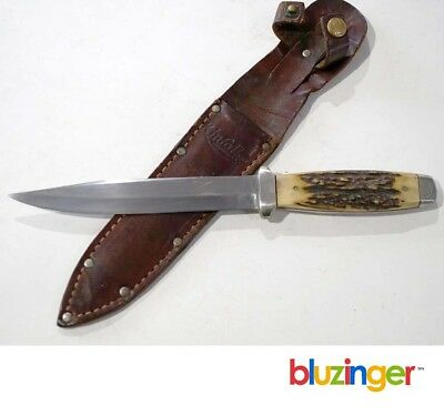 Rare KINFOLKS Stag Handle Pig Sticker Dagger Knife w/ Sheath