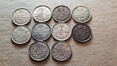 Lot Of 10 Canadian Silver Half Dimes 5C 1907-1920 Mixed Dates Au+ Nice Lot !