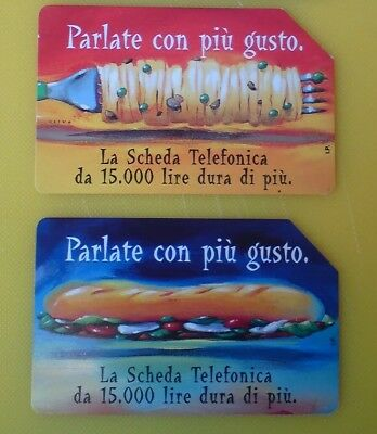 Speak with more taste, 2 Collectable Used Italian Phone Cards