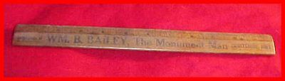 Old Wood Advertising Ruler Wm. Bailey Emmetsburg Iowa IA Grave Monuments/Markers