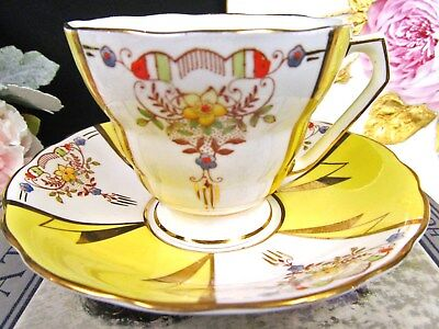 RADFORDS tea cup and saucer yellow and floral painted pattern teacup gold gilt