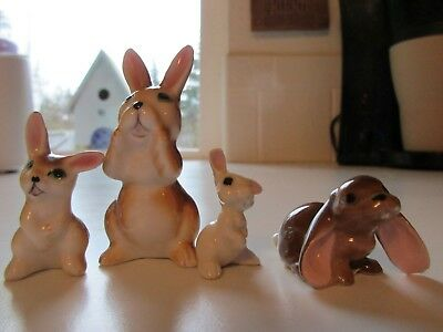 Vintage Set Miniature Ceramic Cute Bunnies Figurines, Bone China
