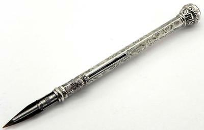 Victorian Solid Silver Combination Dip Pen Pencil, Birm 1898, By FW.