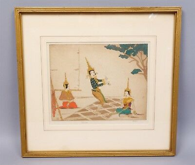 Early 20c Dorsey Potter Tyson Siamese Dancers Hand Colored Dry Point Etching