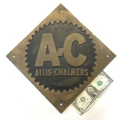 """Allis Chalmers Sign Heavy Brass Wall Plaque 10"""" X 10"""" Tractors Salvage RARE"""