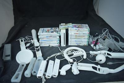 Nintendo Wii Bundle 1 Console, 3 Controllers, 20 Games + More LOT XX