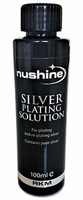 Nushine Silver Plating Solution 3.4 Oz - permanently plate PURE SILVER onto w...