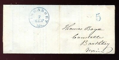 1852 Stampless Cover WISCASSET, ME Selects Traverse Juror THOMAS BOYD Constable