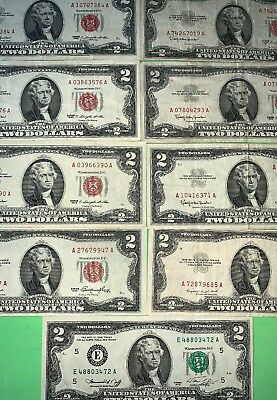 Lot Of 9 Series 1953-1963 $2 Red & Green Seal Federal Reseserve Extremely F🇺🇸