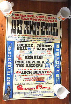 Vintage 1968 NBC-TV Jack Benny Special Lucy Carson Paul Revere & Raiders Poster