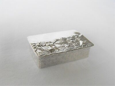 antique box snuff pill trinket 925 sterling silver hinged lid w/dancing vignette