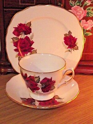 Vintage Royal Vale Red Roses China Trio