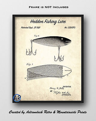 1921 Heddon Fishing Lure Patent Art Print 2  -  Fishing Lure Patent Poster