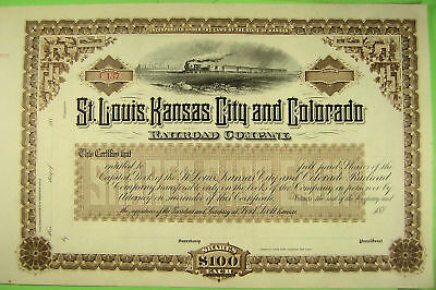 St. Louis, Kansas City and Colorado Railroad Co. Unissued stock certificate 188_