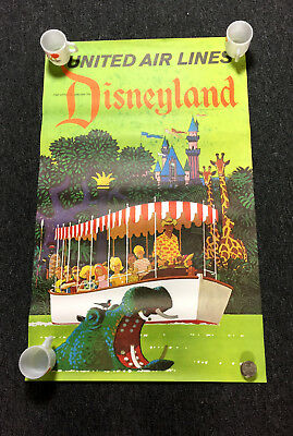 Vintage 1970's United Air Lines Disneyland Jungle Cruise Poster