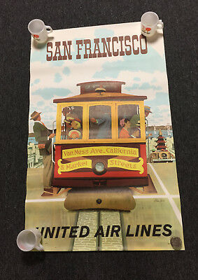 Vintage 1970's United Air Lines San Francisco Cable Car Stan Galli Poster