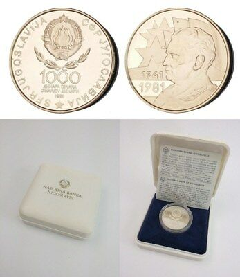 =XC.001) YUGOSLAVIA 1000 dinara 1981 / 40th Anniv. of Revolution / Silver Proof