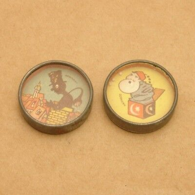 PAIR Antique Pocket Mirror Dexterity Puzzles,Chimney Sweep,Made in Germany,Vtg