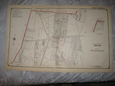 Vintage Antique 1915 Islip Brentwood Park Pines Suffolk County New York Map Fine
