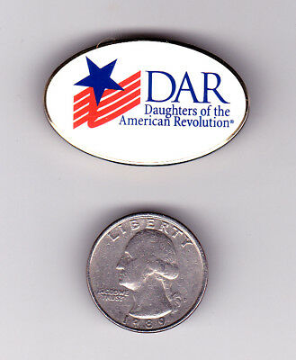 DAR Daughters of the American Revolution Oval Logo Flag Star Pin Red Blue White