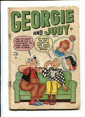 George and Judy #21 VINTAGE Marvel Timely Scarce Comic Romance Gold 10c