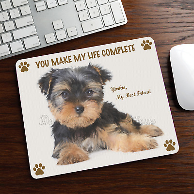 YORKSHIRE TERRIER MOUSE PAD Rubber Mat Yorkie Dog Portrait Art Memorial Gifts