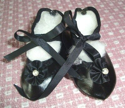 """Antique vintage back doll shoes tie and bows  3 1/2""""L X1 1/2""""W German French"""
