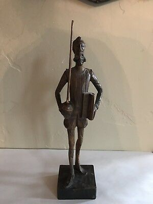 Vintage Quro Artesania Don Quixote Carved Wood Statue Made In Spain Numbered