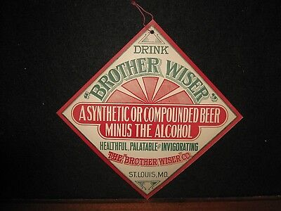 Antique Brother Wiser Co St Louis MO Pre Prohibition Beer Adv Store Sign Pull