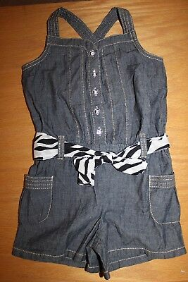 NWT Gymboree Wild For Zebra size 4 Chambray Blue Romper Shortall
