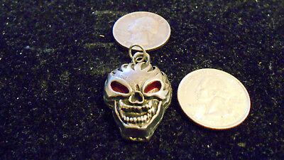 bling pewter red eye skull MYTH CELT GOTH FASHION pendant charm necklace JEWELRY