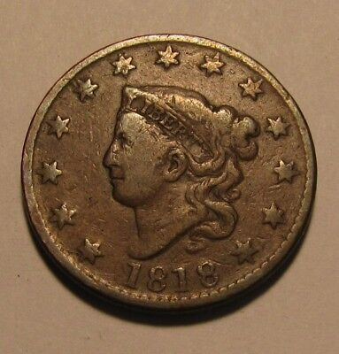 1818 Coronet Head Large Cent Penny - Circulated Condition - 88SU-3