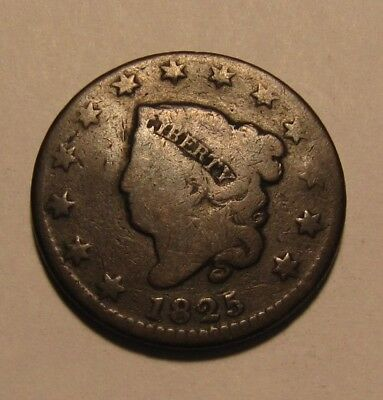 1825 Coronet Head Large Cent Penny - Circulated Condition - 94SU-3
