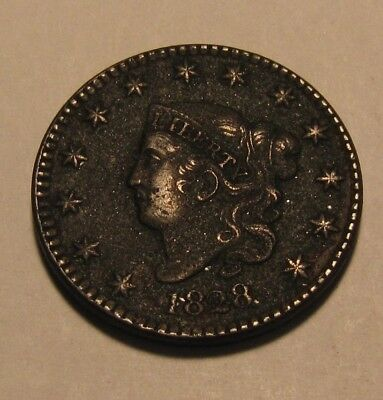 1828 Coronet Head Large Cent Penny - NICE Detail / Corroded / Dark - 97SU-3
