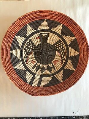Vintage Or Older Hand Woven Eagle Design Indian Basket