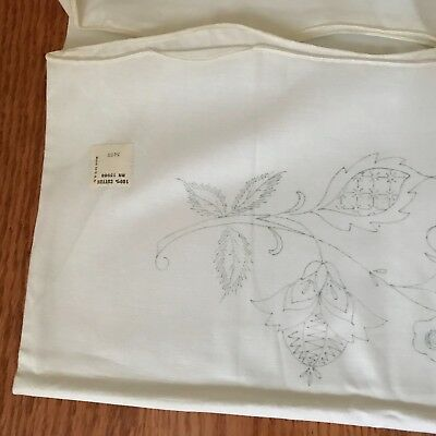 Vintage Pair Pillowcases Stamped for Embroidery Jacobean Design
