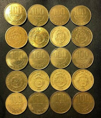 Old Costa Rica Coin Lot - 100 COLONES - 20 Excellent Coins - Lot #J20