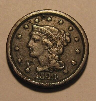 1844 Braided Hair Large Cent Penny - Extra Fine Details - 107SU-3