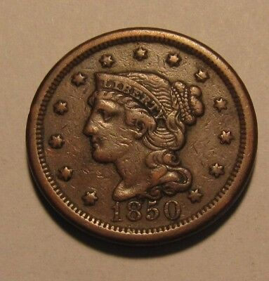 1850 Braided Hair Large Cent Penny - Extra Fine Condition - 113SU-3