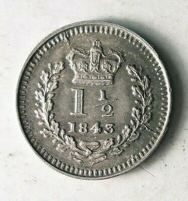 1843 GREAT BRITAIN 1 1/2 PENCE - Scarce Obscure COIN - AU Silver - Lot #J20