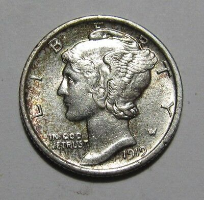 1919 Mercury Dime - AU+ Condition - 154SU-3